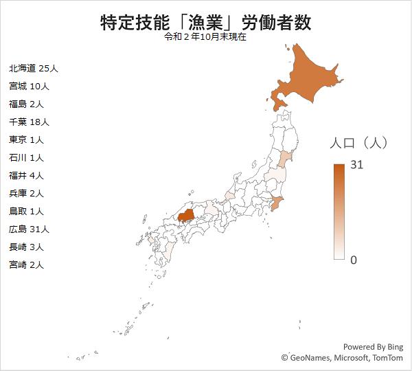 特定技能「漁業」別外国人労働者分布図